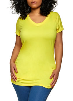 Plus Size V Neck Ruched Side Tee - 1915038340108