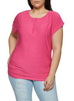 Plus Size Ruched Side Half Button Top - 1915038340137