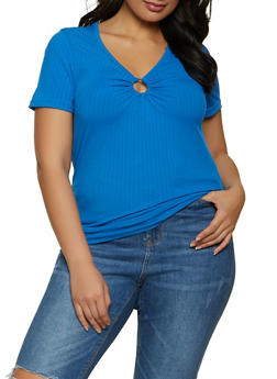 Plus Size Ribbed Knit O Ring Tee - 1915038340153