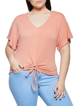 Plus Size Drawstring Tie Front Top - 1915038340233