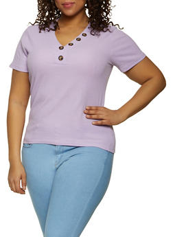 Plus Size Button Thermal Tee - 1915038340255