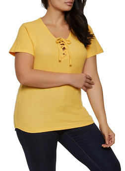 Plus Size Lace Up Waffle Knit Top - 1915038340258