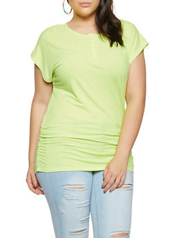 Plus Size Half Button Ruched Tee - 1915038340290