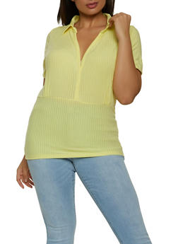 Plus Size V Neck Ribbed Top - 1915038340292