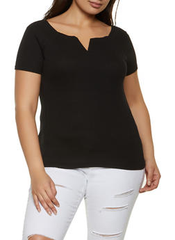Plus Size Ribbed Short Sleeve Top - 1915038340325