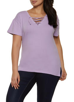 Plus Size Lace Up Short Sleeve Tee - 1915038340344