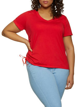 Plus Size Drawstring Side Tee - 1915038340345