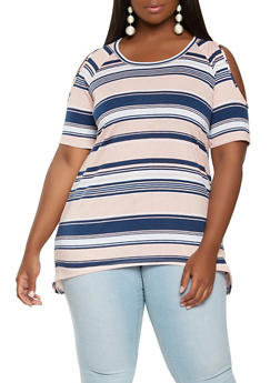 Plus Size Striped Cold Shoulder Top - 1915038342071