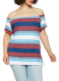 Plus Size Striped Off the Shoulder Tee - 1915038342074