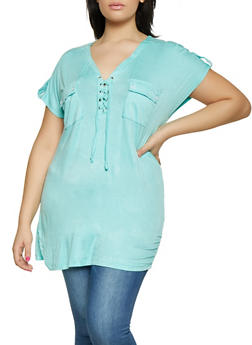 Plus Size Lace Up Tabbed Sleeve Tee - 1915038342140