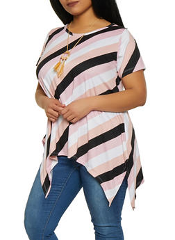Plus Size Striped Sharkbite Tee with Necklace - 1915038342334