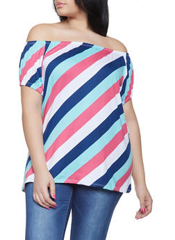 Plus Size Striped Off the Shoulder Tee - 1915038342335