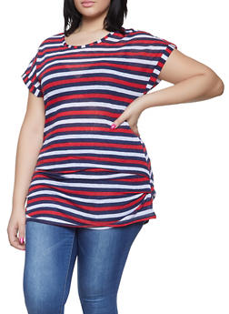 Plus Size Ruched Striped Top - 1915038342342
