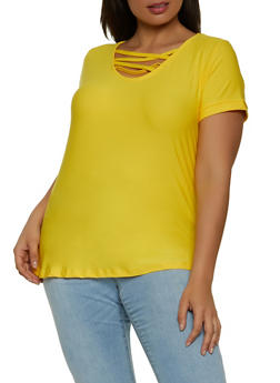 Plus Size Caged Short Sleeve Tee - 1915038342614