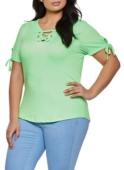 Plus Size Lace Up Soft Knit Tee - LIME - 1915038344160