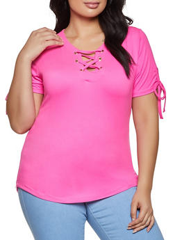 Plus Size Lace Up Soft Knit Tee - 1915038344160