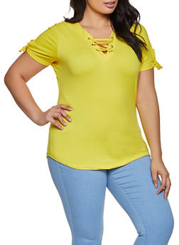 Plus Size Lace Up Soft Knit Tee - YELLOW - 1915038344160
