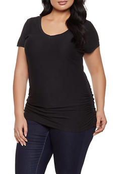 Plus Size Ruched V Neck Tee - 1915038344161