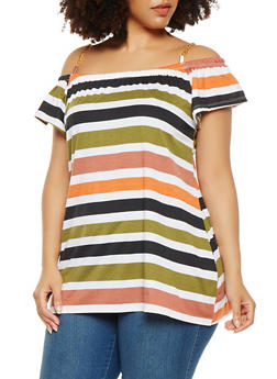 Plus Size Striped Off the Shoulder Top - 1915038347205