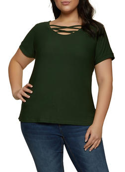 Plus Size Caged Scoop Neck Top - 1915038347416