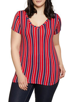 Plus Size V Neck Striped Tee - 1915038347938