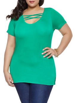 Plus Size Solid Caged Tee - 1915038349206