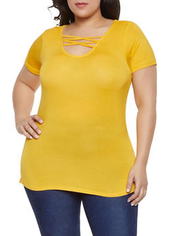 Plus Size Caged Neck Tee - 1915038349207