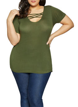 Plus Size Solid Caged Tee - 1915038349208