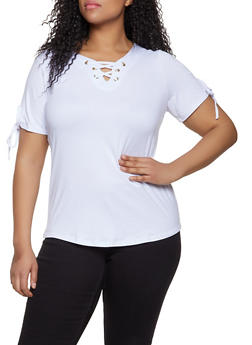 Plus Size Lace Up Tie Sleeve Top - 1915038349251
