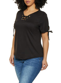 Plus Size Lace Up Tie Sleeve Tee - 1915038349252