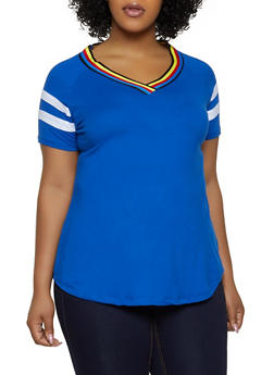 Plus Size Striped Tape V Neck Tee - 1915038349253
