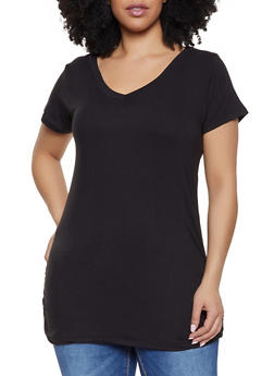Plus Size Ruched Side Tunic Tee - 1915038349275