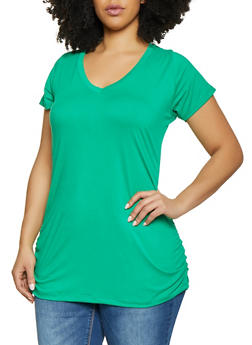 7e60f06ea6d1c Plus Size Ruched Side Tunic Tee - 1915038349275