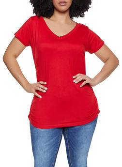 1e3eead744257 Plus Size Ruched Side Tunic Tee - 1915038349275