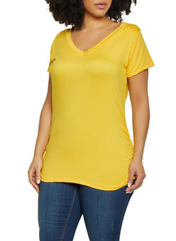 c1b9bc99127 Plus Size Ruched Side Tunic Tee - 1915038349275