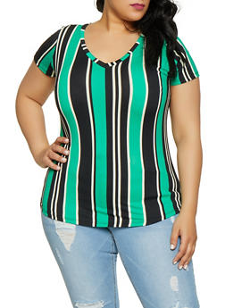 Plus Size Soft Knit Striped V Neck Tee - 1915038349327