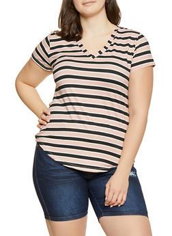 Plus Size Basic Striped V Neck Tee - 1915038349330