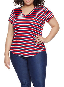 Plus Size Basic Striped V Neck Tee - 1915038349330