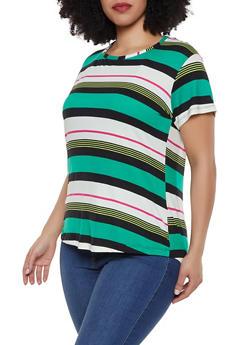 Plus Size Striped Tee | 1915038349331 - 1915038349331