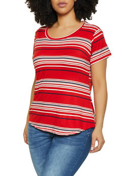 Plus Size Striped Crew Neck Tee - 1915038349332
