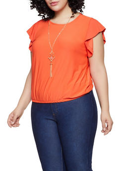 Plus Size Flutter Sleeve Top with Necklace - 1915038349370