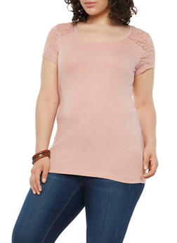 Plus Size Lace Yoke Tee - 1915054260007