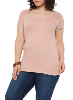 Plus Size Lace Yoke Tee - 1915054260007