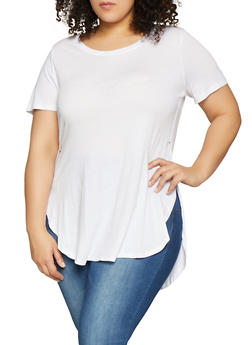 Plus Size Solid High Low Tee | 1915054260011 - 1915054260011
