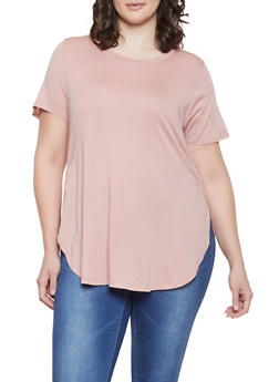 Plus Size Solid High Low Tee - 1915054260011