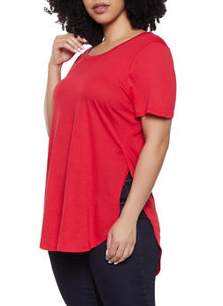 cf0dfd2ebc0 Plus Size Solid High Low Tee - 1915054260011