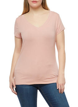 Plus Size Basic V Neck Top - 1915054260050