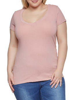 Plus Size Basic V Neck Tee - 1915054260065