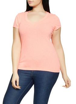 Plus Size Basic V Neck Tee - 1915054260065