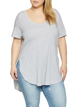 Plus Size Oversized V Neck Tee - 1915054260091